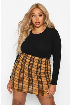Yellow Plus Checked Mini Skirt