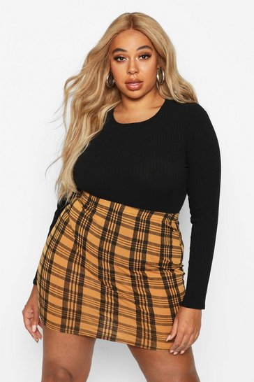 Womens Yellow Plus Checked Mini Skirt