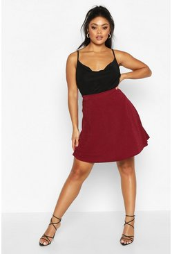 Womens Wine Plus Metallic Skater Skirt