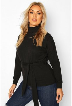 Black Plus Rib High Neck Wrap Tie Top
