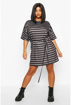 Womens Black Plus Tie Waist Striped T-Shirt Dress
