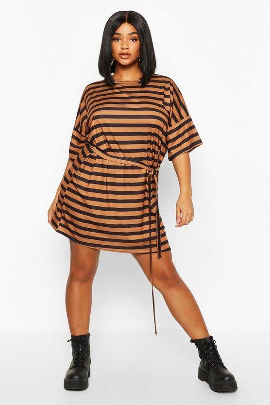 Plus Tie Waist Striped T-Shirt Dress
