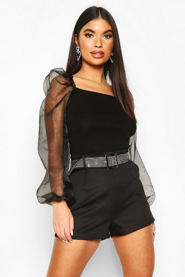 Black Petite Knitted Organza Sleeve Top