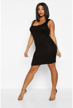Womens Black Plus Basic Sccop Neck Bodycon Dress