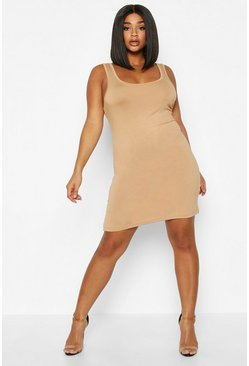 Camel Plus Basic Sccop Neck Bodycon Dress
