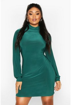 Jade Plus Slinky High Neck Blouson Mini Dress