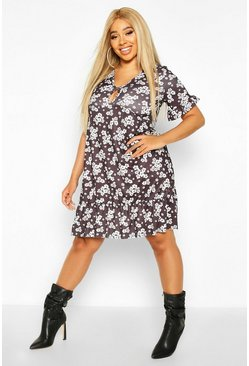Womens Black Plus Monochrome Floral Keyhole Smock Dress