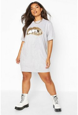 Grey Plus Sequin Lip Print T-Shirt Dress
