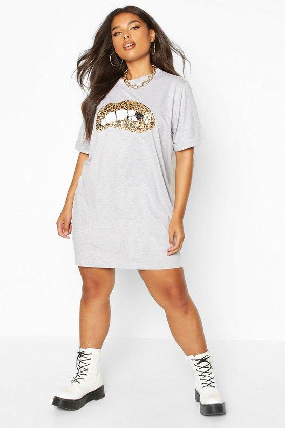 Plus Sequin Lip Print T-Shirt Dress