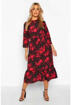 Womens Black Plus Floral Rose Ruffle Hem Midi Dress