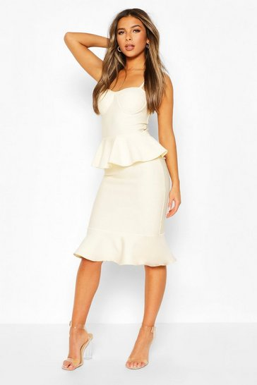 Champagne Petite Peplum Fishtail Bandage Midi Dress