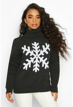 Womens Charcoal Petite Roll Neck Snowflake Christmas Jumper