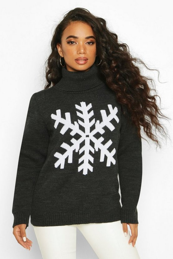 Petite Roll Neck Snowflake Christmas Jumper