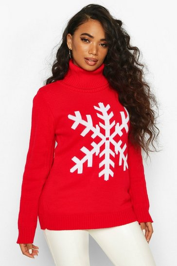 Womens Red Petite Roll Neck Snowflake Christmas Jumper