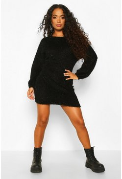 Womens Black Petite Fluffy Sparkle Knit Jumper Dress