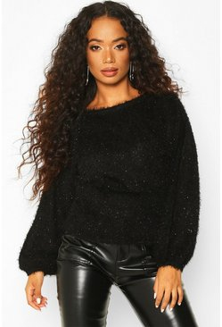 Womens Black Petite Fluffy Sparkle Knit Jumper