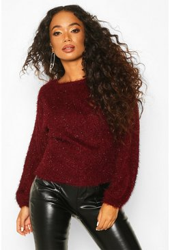 Wine Petite Fluffy Sparkle Knit Jumper