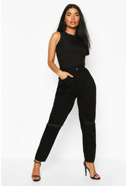 Petite Schwarze Mama-Jeans in Destroyed-Optik, Schwarz