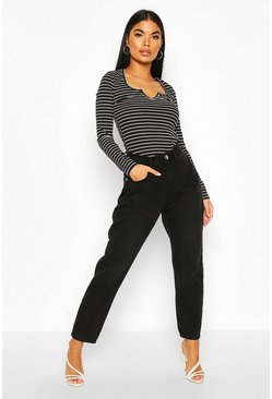 Womens Petite Black Wash Straight Leg Jeans