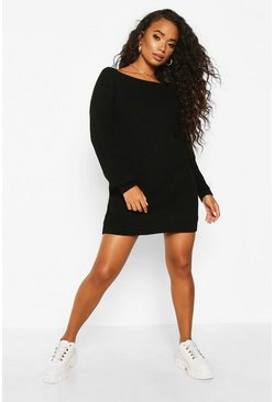 Womens Black Petite V-Back Jumper Dress