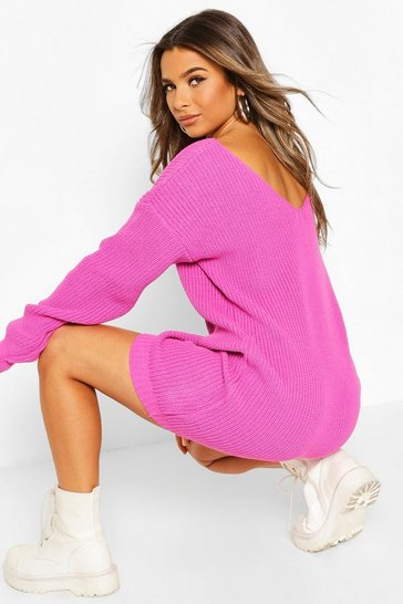 Fuchsia Petite V-Back Jumper Dress