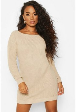 Sand Petite V-Back Jumper Dress