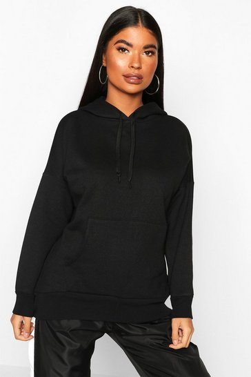 Black Petite Fleece Basic Hoodie
