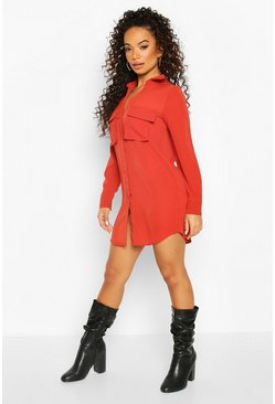 Terracotta Petite Utility Pocket Shirt Dress