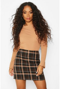 Womens Chocolate Petite Check A-Line Mini Skirt