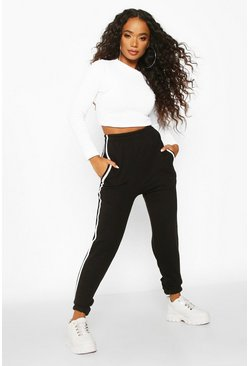 Womens Black Petite Side Stripe Boyfriend Joggers