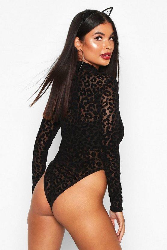 Petite Halloween High Neck Leopard Mesh Bodysuit
