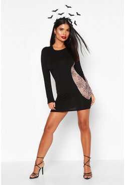 Womens Black Petite Halloween Cobweb Mesh Cut Out Mini Dress