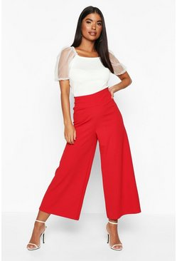 Womens Red Petite Contour Waistband Culottes