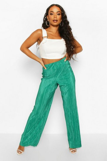 Womens Emerald Petite Plissé Pleated Wide Leg Trousers