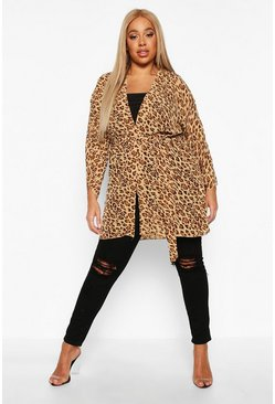 Womens Brown Plus Leopard Print Belted Kimono