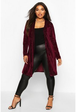 Womens Berry Plus Velvet Burnout Stripe Belted Duster
