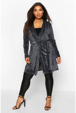 Womens Grey Plus Velvet Burnout Stripe Belted Duster