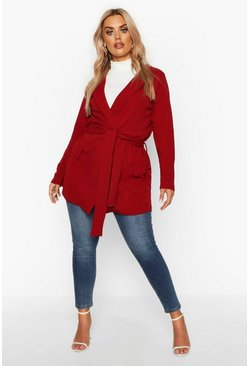 Womens Berry Plus Belted Tie Blazer