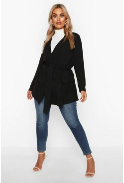 Black Plus Belted Tie Blazer
