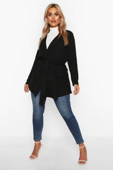 Womens Black Plus Belted Tie Blazer