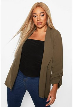 Khaki Plus Ruched Sleeve Blazer