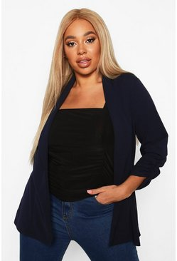 Womens Navy Plus Ruched Sleeve Blazer