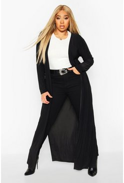 Womens Black Plus Maxi Slinky Side Split Kimono
