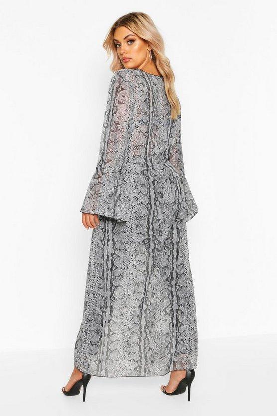Plus Snake Print Frill Sleeve Kimono