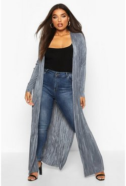 Womens Grey Plus Pleated Plisse Maxi Kimono