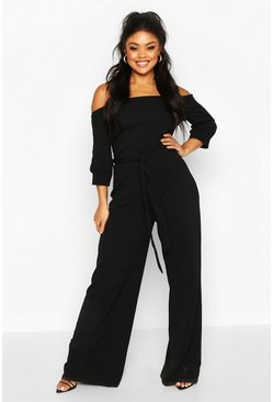 Dam Black Plus Off Shoulder Tailored Self Belt Jumpsuit