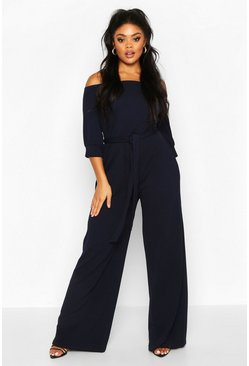 Navy Plus Off Shoulder Tailored Self Belt Jumpsuit