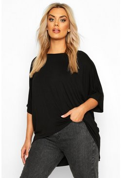Black Plus Dip Hem Oversized T-Shirt