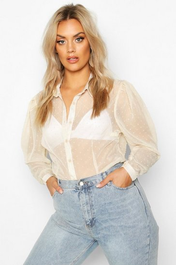 Womens Ivory Plus Dobby Mesh Puff Sleeve Shirt