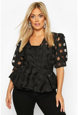 Womens Black Plus Check Chiffon Wrap Peplum Top